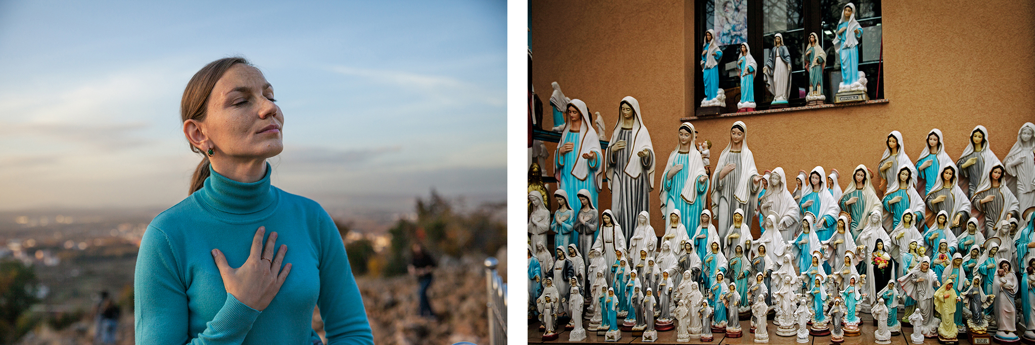 """Anna Pidlisna, 32, of Ukraine, says she came to Medjugorje—where plaster statues can fetch about 30 euros apiece—after receiving a vision of Mary. Apparitions aren't the only Marian sign; many say they've seen a """"spinning sun."""" Physicist Artur Wirowski has an earthly explanation: It can occur when sunlight reflects and refracts charged ice crystals vibrating in sync within the clouds."""