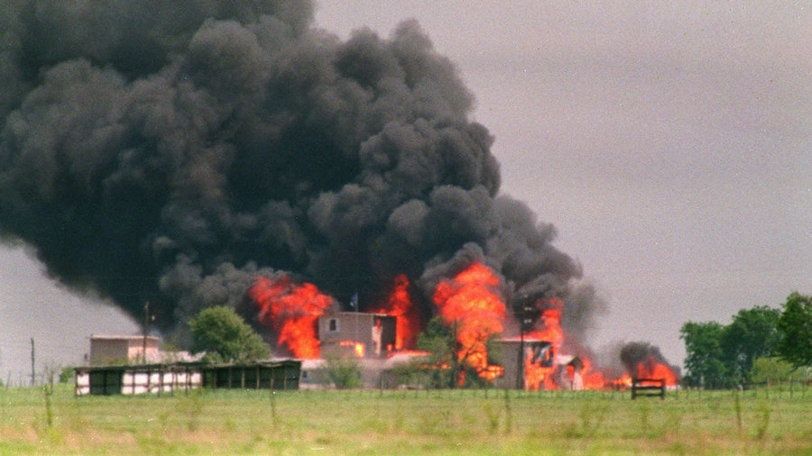 Flames engulf the Branch Davidian compound in Waco, Texas, on April 20, 1993