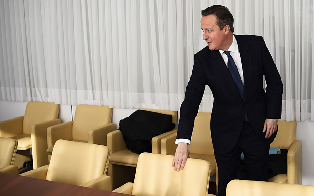 Prime Minister David Cameron arrives for a meeting on the sidelines of the EU summit in Brussels  Photo: Reuters
