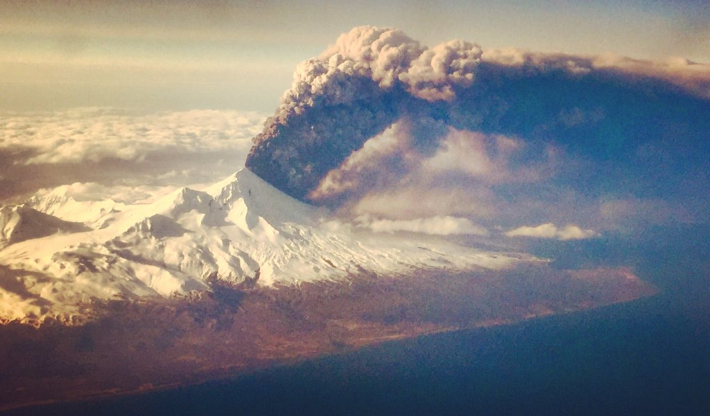 The Pavlof Volcano in the Aleutian Islands erupted on Sunday, March 27, 2016.