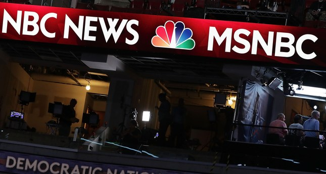 A booth of NBC News and MSNBC is seen at the Wells Fargo Center on July 24, 2016 in Philadelphia, Pennsylvania. (AFP Photo)