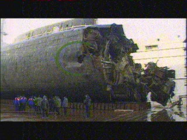 Obvious hole in the Kursk hull and likely point of torpedo's penetration
