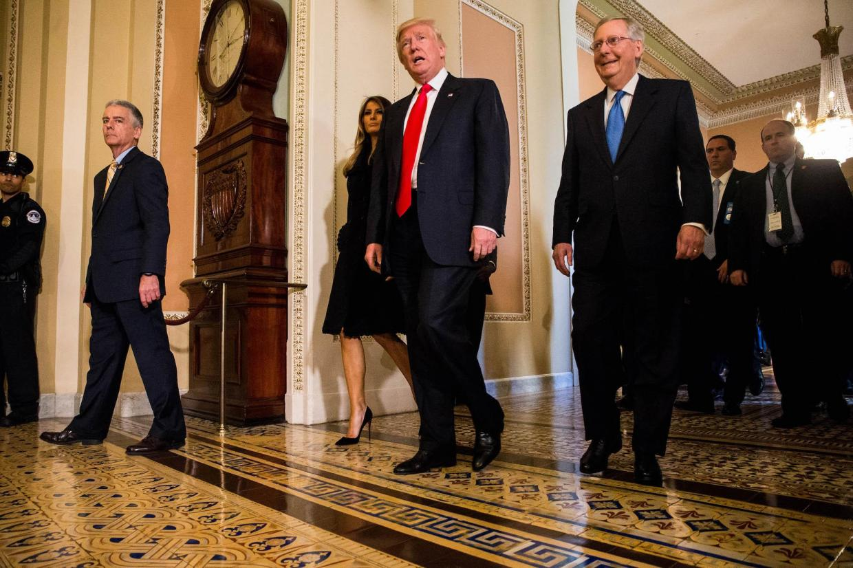 President-elect Donald Trump leaves a meeting with Senate Majority Leader Mitch McConnell (R-KY), at the U.S. Capitol November 10, 2016 in Washington, DC Zach Gibson/Getty Images