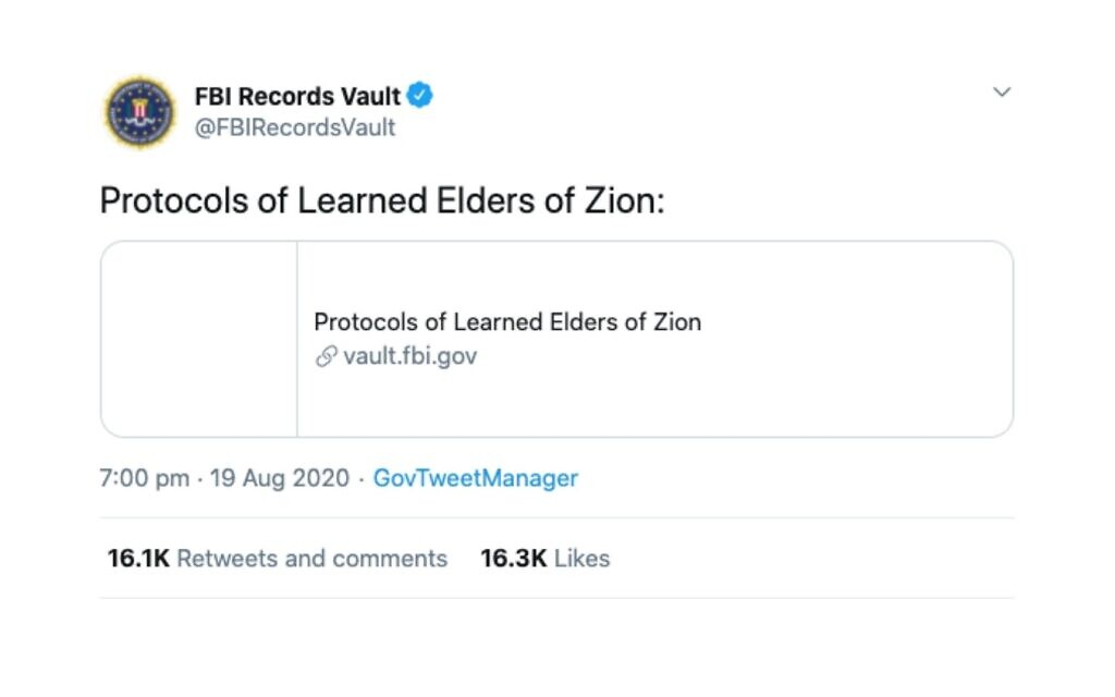 "Why did the FBI tweet their link to the ""The Protocols Of The Elders Of Zion""?"