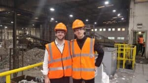 Recycleye team members pictured in waste facility