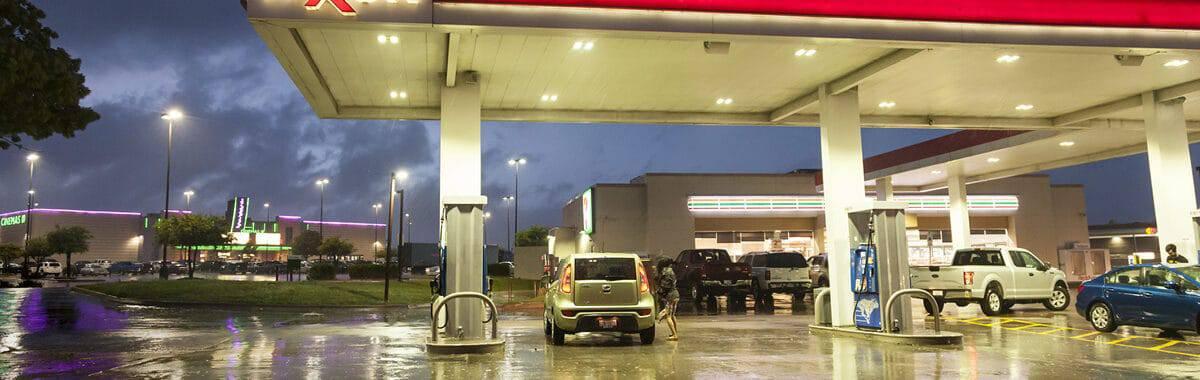 Forecourt of Exxon service station