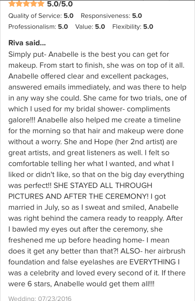 reviews of anabelle laguardia makeup artist