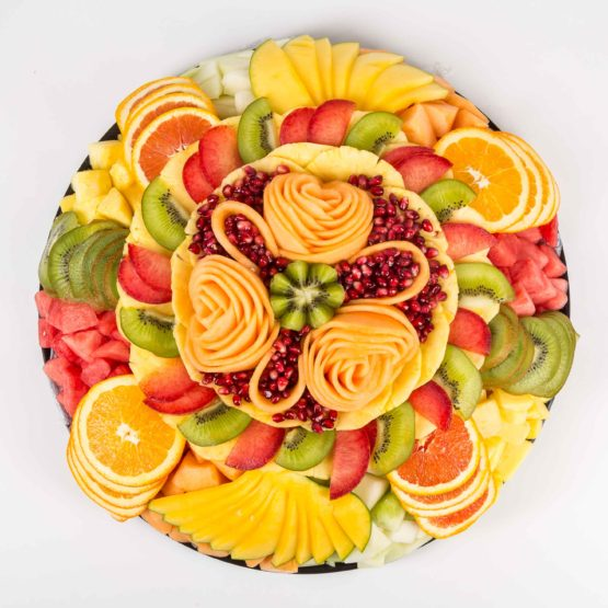 floral fresh fruit platters