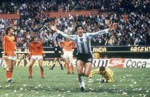 Mario Kempes of Argentina celebrates scoring a goal
