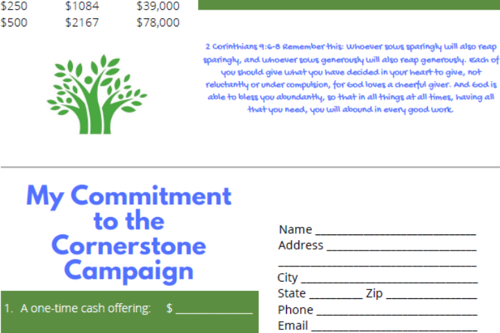 Cornerstone Building Pledge Card