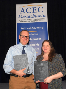 Andrew Jonic of William Rawn Associates, and Chelsea Christenson of Nitsch Engineering, accept ACECMA Engineering Excellence Award
