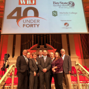 Jared Gentilucci with Nitsch Colleagues on Stage at WBJ Event