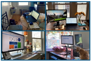 four-pane image showing different at-home desk set-ups