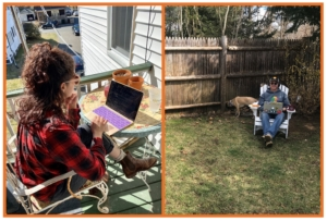 two-pane image showing employees working on their laptops while sitting outdoors