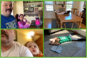 four-pane image showing two photos of a man with his daughters sitting beside him and two images of an employees sons working, one seated at a table, another lying on the floor exhausted