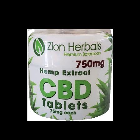 Zion Herbals CBD 10 tablet jar