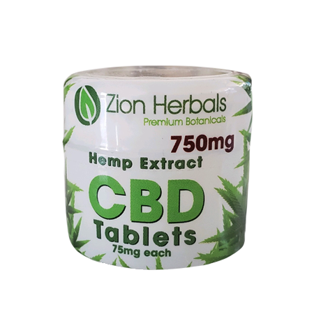 Zion Herbals CBD 10 tablet jar