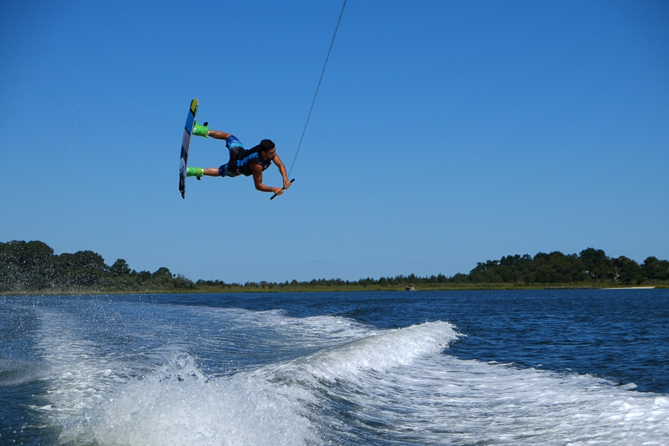 Joey Wakeboarding in Southampton, Long Island, New York during wakeboarding lessons in the hamptons with peconic water sports