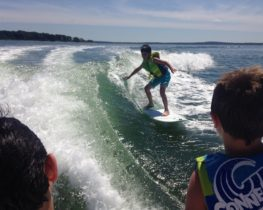 Kids Wakesurfing with Peconic Water Sports in Hamptons Kids Surfing Camp in Southampton, New York