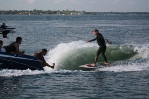 Wakesurfing charter boat with peconic water sports in Sag Harbor New York