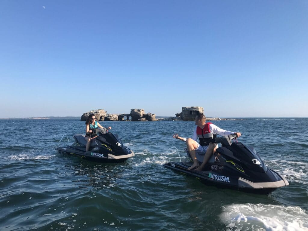 jet skis at the ruins gardiners island Long Island New York