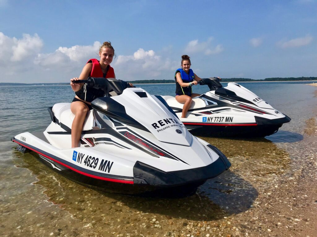 happy summer fun renting jet skis from peconic water sports in eastern Long Island New York