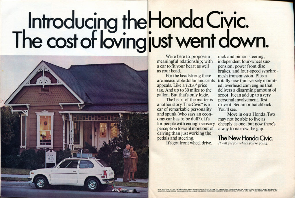Introducing the Honda Civic. The cost of loving just went down.