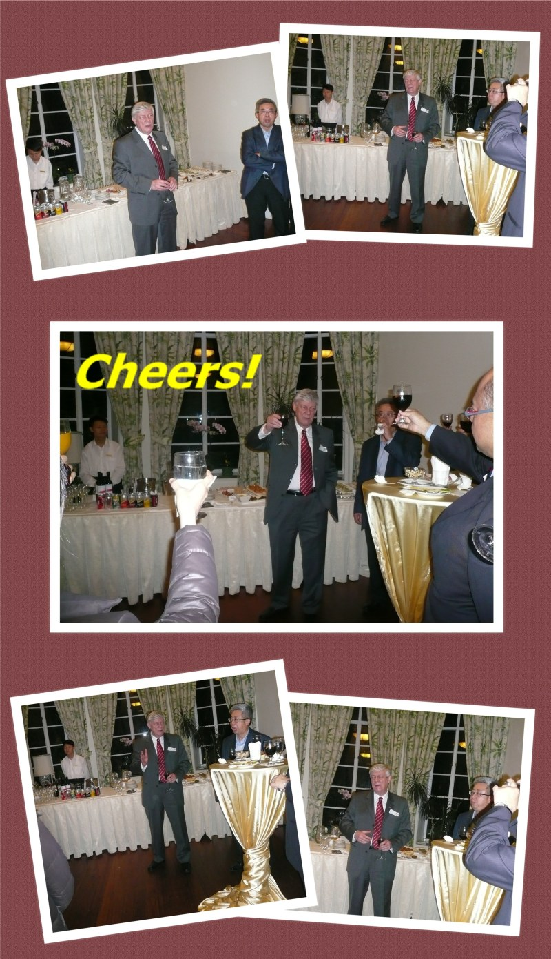 Dr Colin Dodds giving a speech and making a toast