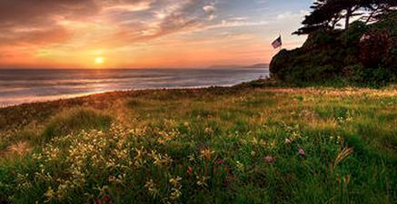 California sunset at coast