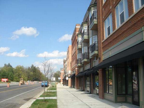 New Urbanist development and street improvements under construction on Old Meridian St.