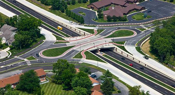 Roundabout interchange at 126th St. and Keystone Parkway.