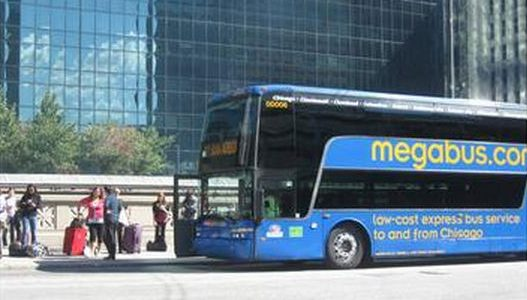 (Photo by the author) Megabus double-decker at the Canal Street loading area in Chicago.