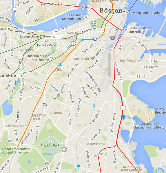 Boston's T reaches both Dorchester and Jamaica Plain, but a bus is by far the easiest way to get from one to the other on transit. Credit: Google Maps