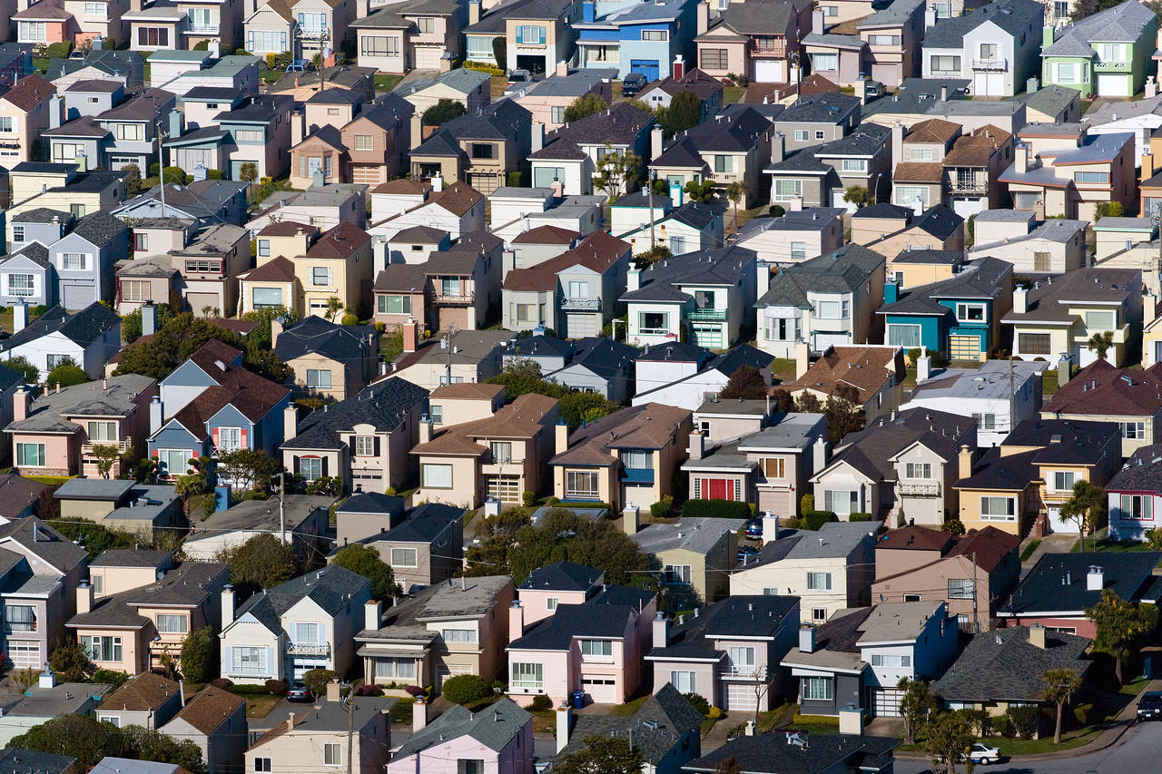 Homes in Daly City, Calif., a San Francisco suburb whose population exploded in the 1940s with the construction of low-cost housing tracts. PHOTO: ALAMY