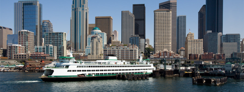 Seattle Ferry shown against downtown skyline