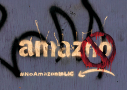 anti Amazon graffiti, seen in New York