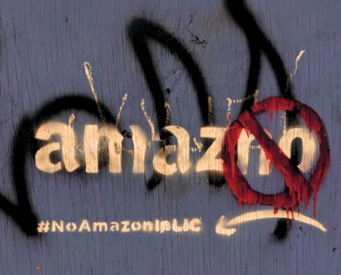 anti Amazon graffiti, seen in New York