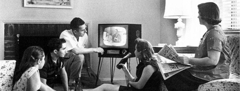 family watching television, 1958