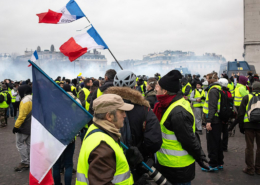 Working class protestors in Paris, France
