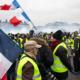 Working class protestors in Paris, France