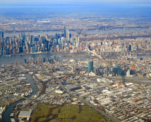 View of NYC midtown and Queens, a densely populated area