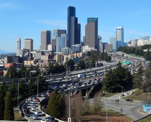 Seattle traffic congestion seen from Rizal Park