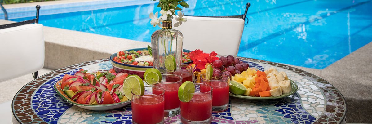 Colourful meal beside the pool