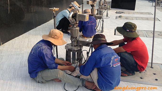 Hình ảnh thi công đài phun nước Vòng xoay Tây Ninh