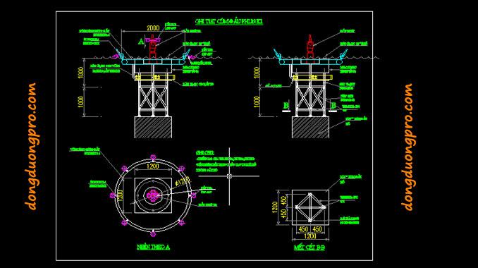 Bản vẽ vòi phun 2D và Nozzle hệ thống nhạc nước Quảng Ngãi