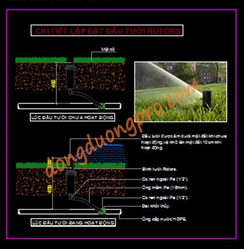 Bản vẽ chi tiết bình tưới Rotor - Bản vẽ thi công tưới cỏ tự động