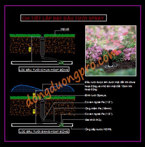 Bản vẽ thiết kế hệ thống tưới cỏ