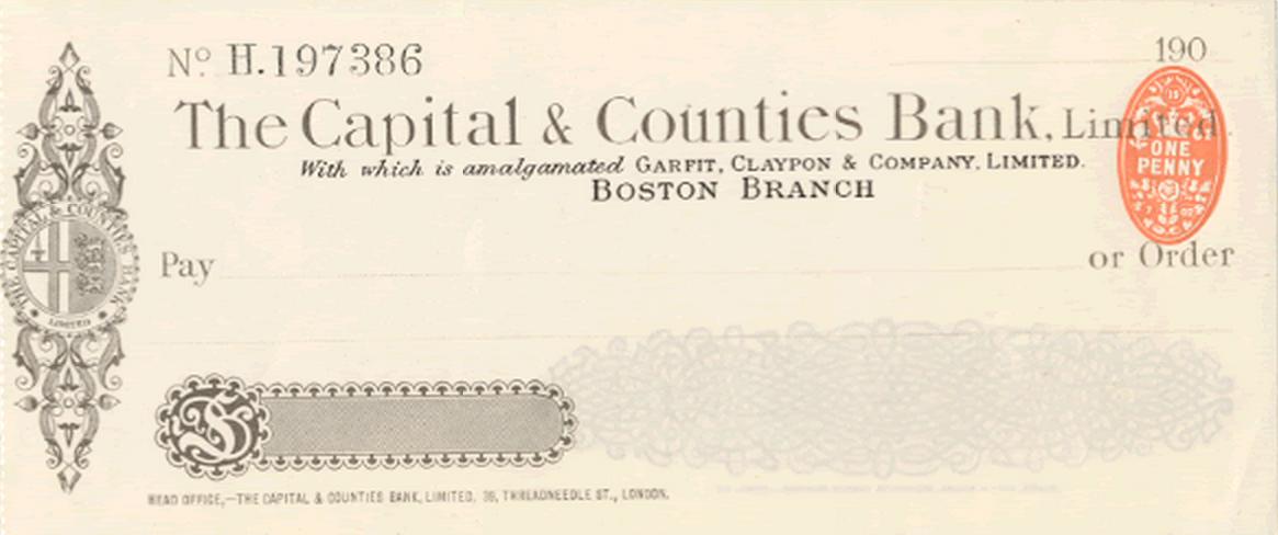 Capital and Counties Bank Check