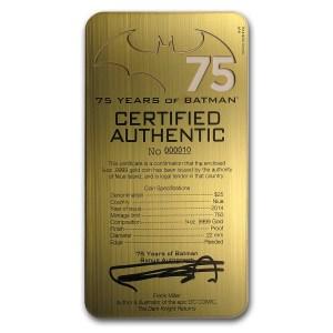 Niue Batman Gold Steel Certificate