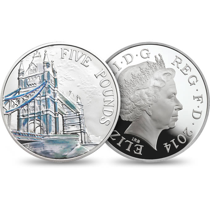 Portrait of Britain 5 Pound Coins and Sherlock Holmes